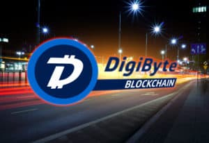 Concept of DigiByte coin moving fast on the road, a Cryptocurrency blockchain platform , Digital money - Image