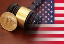 Judge gavel and bitcoin on brown table with usa flag - Image