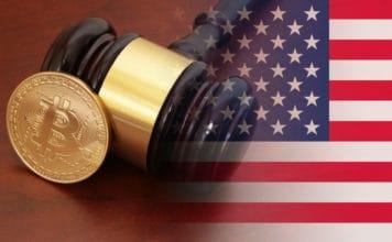 Judge gavel and bitcoin on brown table with usa flag - Image