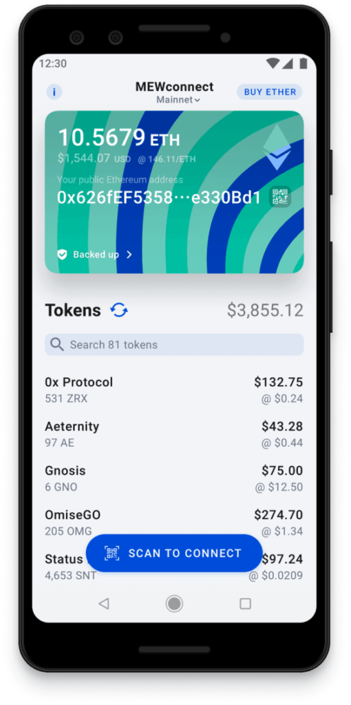 My Ether Wallet platform and app