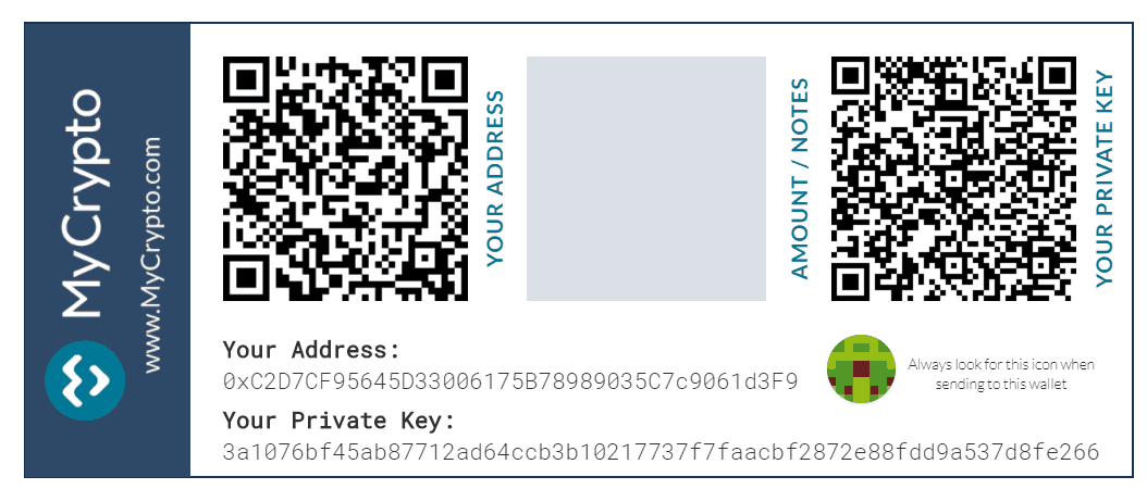 Paper Wallet generated using MyCrypto