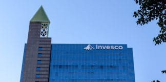 Toronto, Ontario, Canada - June 25, 2018 Sign and logo of Invesco on the Canadian head office building in Toronto. Invesco Ltd. is an American independent investment management company. - Image