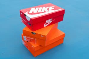 BANGKOK, THAILAND - AUGUST 27, 2017Nike box of shoes on court,Nike,Inc. is an American multinational corporation that designs, develops, manufactures and sells footwear and other items - Image