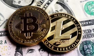 Bitcoin and Litecoin over dollar banknotes. Cryptocurrency Trading concept . - Image