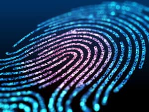 Digital fingerprint on a black background close up. 3d illustration. - Illustration