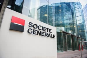 PARIS, FRANCE - DEC 3, 2014 Societe Generale Headquarter entrance in La Defense. Societe Generale is the 7th largest bank in Europe (Q4 2015) - Image