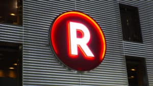SHIBUYA, TOKYO, JAPAN - CIRCA AUGUST 2018 Logo of RAKUTEN company. RAKUTEN is a Japanese electronic commerce and internet company based in Tokyo. - Image