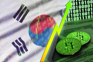 South Korea flag and cryptocurrency growing trend with two bitcoins on dollar bills and binary code display - Image