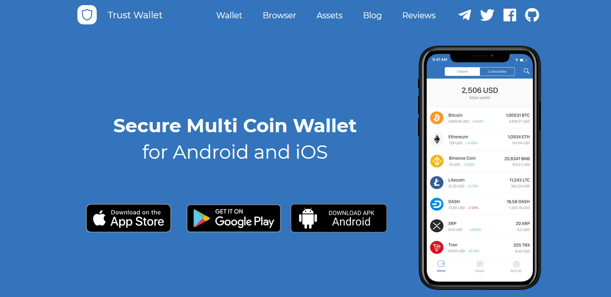 Trust Wallet Secure Multi Coin Wallet - Source: www.trustwallet.com