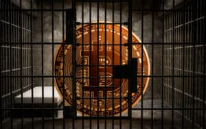 Bitcoin Bans,BTC illegal blockchain technology for cryptocurrency, 3D Rendering - Image