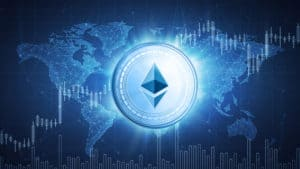 Ethereum cash cryptocurrency coin on hud background with bull trading stock chart and polygon world map. Blockchain technology network token grows in price on stock market concept. - Illustration