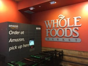 NEW YORK CITY March 2, 2018 Whole Foods Market (WFM). Amazon (NASDAQ AMZN) Locker is self-service parcel delivery service. Customers select Locker location as delivery address, retrieve location - Image
