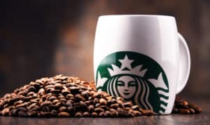 POZNAN, POLAND - JUL 20, 2017 Starbucks, coffee company and coffeehouse chain, founded in Seattle, Wa. USA, in 1971; now the largest business of this kind in the world operates 23,450 locations - Image
