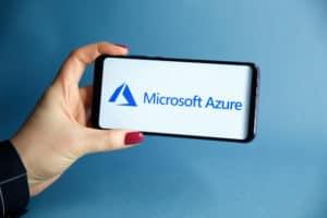 Tula, Russia - JANUARY 29, 2019 Microsoft Azure logo displayed on a modern - Image
