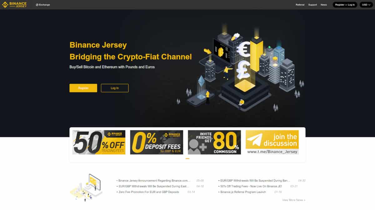 Page d'accueil de Binance Jersey Crypto Exchange