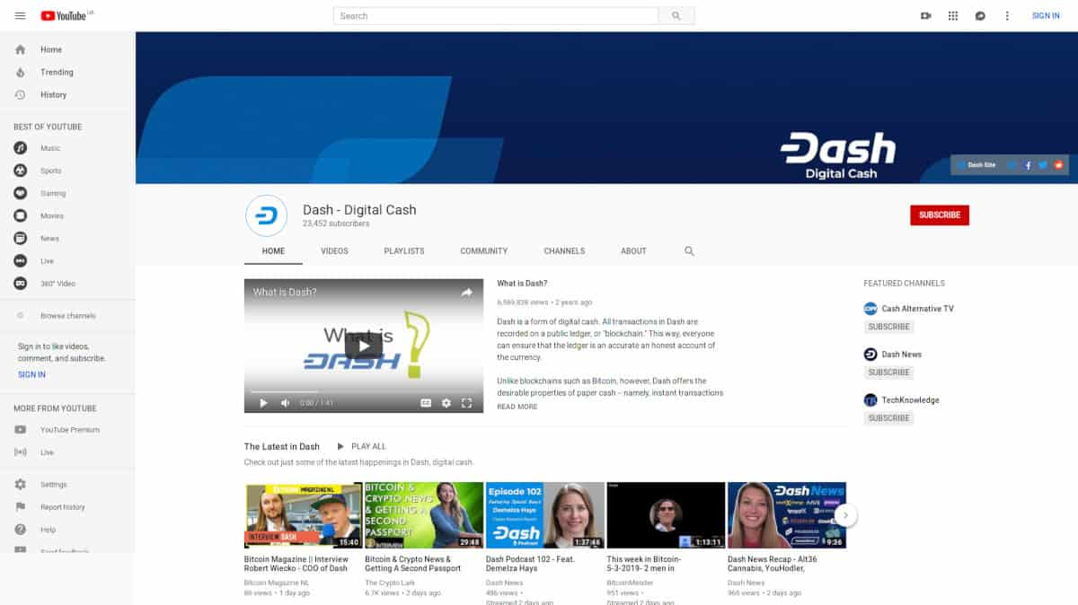 Dash - Digital Cash, YouTube Channel