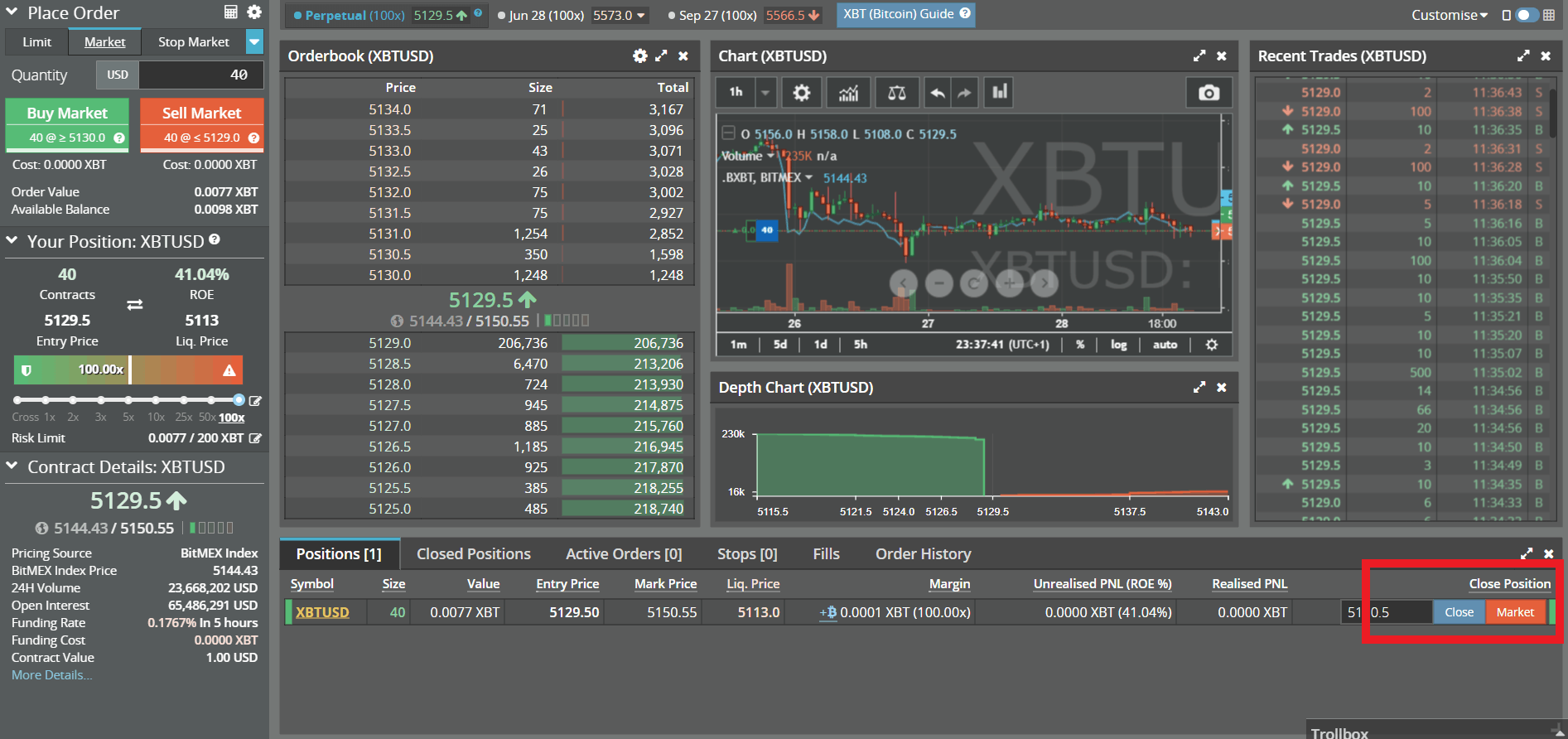 How to Close a Position on BitMEX