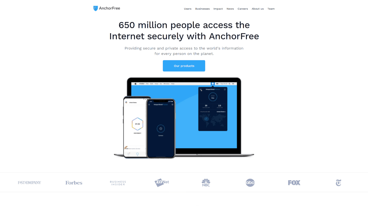 anchorfree.com Homepage