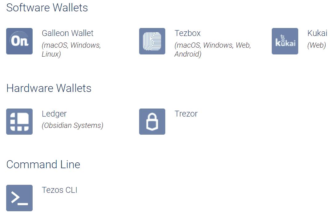 Tezos software-wallates