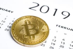 The concept of success of cryptocurrency in 2019. Bitcoin is the currency of the future. Bitcoin coin on the 2019 calendar. - Image